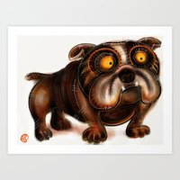 bulldog Art Prints featuring Bulldog by Riccardo Pertici