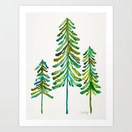 Pine Trees – Green Palette Art Print