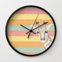 giraffe Wall Clocks featuring Giraffe by Tammy Kushnir