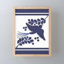 Talavera Blue Bird, Mexican Style Tile // Mexico Festive Traditional Motif Framed Mini Art Print