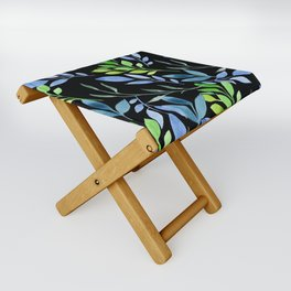 Blue and Green Leaves Folding Stool