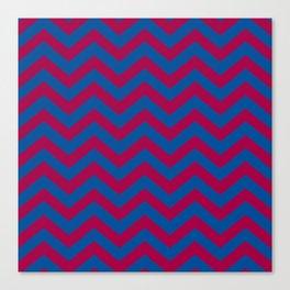 Chevron Pattern: Red & Blue Zig Zags Canvas Print