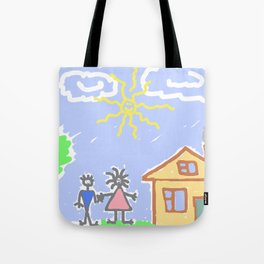 child's drawing with happy family Tote Bag