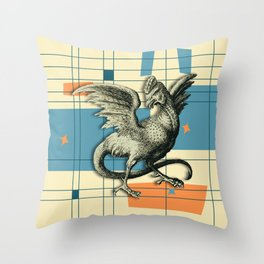 Mythical Cockatrice on Retro Pattern Throw Pillow