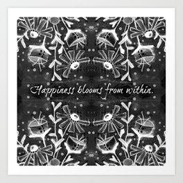 Happiness Blooms from Within - Floral Chalkboard Quote Art Print