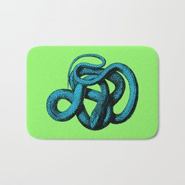 Snek 1 Snake Teal Turquoise Lime Green Bath Mat