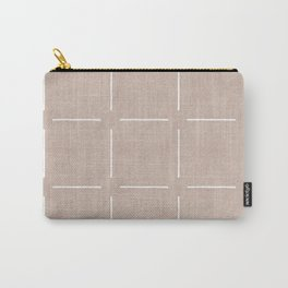 Block Print Simple Squares in Tan Carry-All Pouch