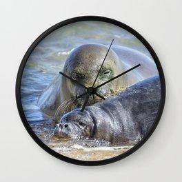 Mama Monk Seal and Pup at the Shoreline, No. 2 - RB00 and PK1 Wall Clock