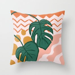 Monstera Split Leaf in Sunrise Throw Pillow
