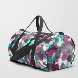 Geometric Fragmented Wild Rose Pattern Aqua Blue Duffle Bag