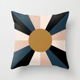 Retro Sun Rays - Moody Autumn Throw Pillow