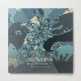 Dunedin, New Zealand - Cream Blue Metal Print