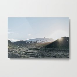 Sunset Over The Lava Fields Metal Print