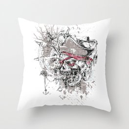 Skull Pirate - arrr, matey! Throw Pillow
