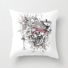 Skull Pirate - arrr, matey! Throw Pillow