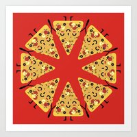 pizza Art Prints featuring pizza by ValoValo