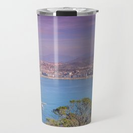 La Concha Bay seen from Igeldo Mount. Travel Mug