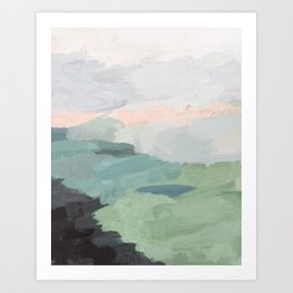 Seafoam Green Mint Black Blush Pink Abstract Nature Land Art Painting Kunstdrucke