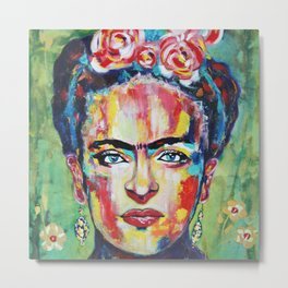 Frida «Pink Flowers» Metal Print
