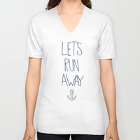 hawaii V-neck T-shirts featuring Let's Run Away: Sandy Beach, Hawaii by Leah Flores