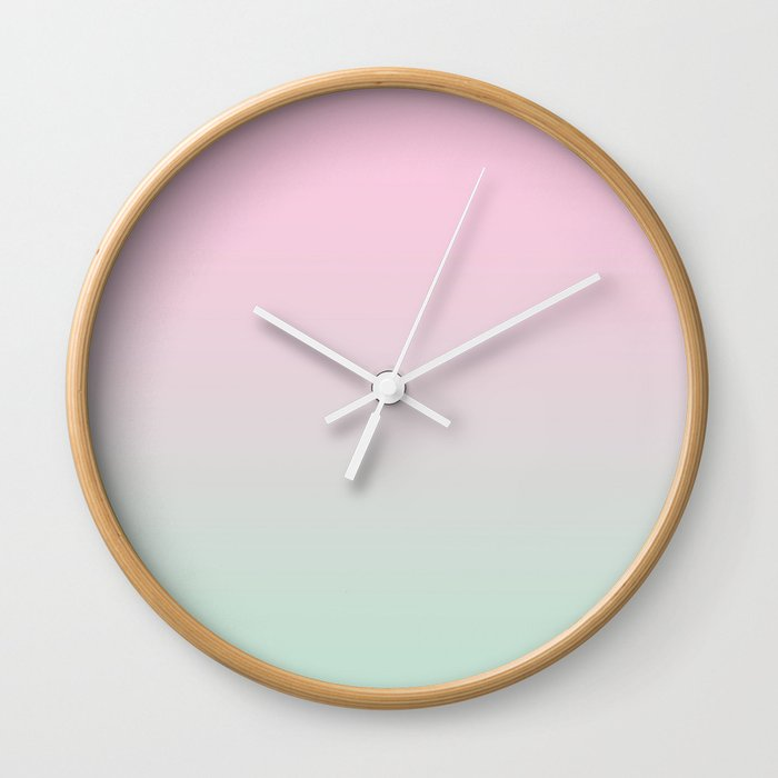 Keelee Ombre Pastels Minimal Canvas Art Painting Sunset Nursery Baby Room Wall Clock