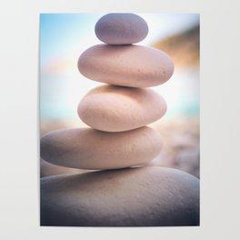 Zen beach rocks print, balancing pebbles, Yoga room art, Beach decor, wall art Poster