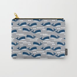 Whale pattern navy and white minimal modern basic nursery triangles chevrons nursery Carry-All Pouch