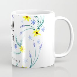 Dwell in Hope Typography with Flowers Coffee Mug