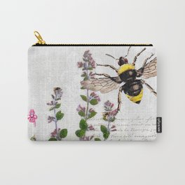 Cottage Style Thyme, Bumble Bee, Hummingbird, Herbal Botanical Illustration Carry-All Pouch