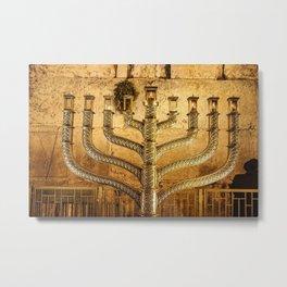 Western Wall Menorah Chanukiah for Hanukah Metal Print