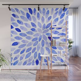 Watercolor brush strokes - blue Wall Mural