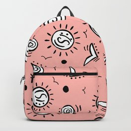 Doodle Drawing Seagulls Shells Sun - Coral Pink Backpack