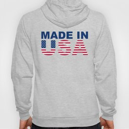 Made in USA text with USA flag Hoody