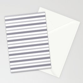 Pantone Lilac Gray and White Stripes, Wide and Narrow Horizontal Line Pattern Stationery Cards