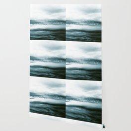 WHITE & BLUE & BLACK TOUCHING #3 #abstract #decor #art #society6 Wallpaper
