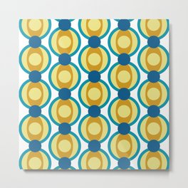 Retro Circle Pattern Mid Century Modern Turquoise Blue and Marigold Metal Print