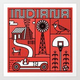 Indiana Landmarks by Swirvington Art Print