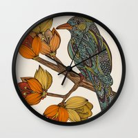 valentina Wall Clocks featuring Bravebird by Valentina Harper