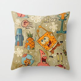Sailor Jerry Spongebob Tattoo Sheet Throw Pillow