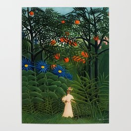 'Woman walking amid Tropical Blue Cornflowers in an exotic forest' by Henry Rousseau Poster