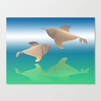 dolphins Canvas Prints featuring dolphins by Ruud van Koningsbrugge