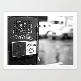 New York Fire and Police black and white Art Print