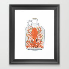 The Kraken in a Bottle Framed Art Print