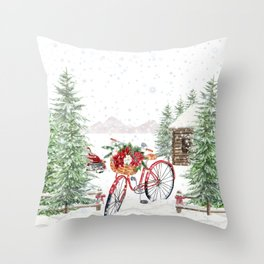 Winter Bicycle Throw Pillow