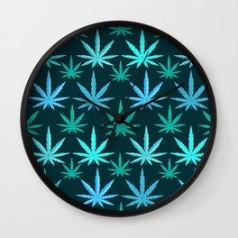 Marijuana Teal Weed Wall Clock