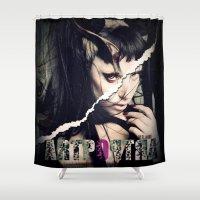 artpop Shower Curtains featuring Devil of ARTPOP by ELIAOKO