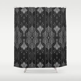 Art Deco Leaf Shapes Black Grey Shower Curtain