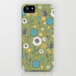 Emma_Wildflowers in Avocado Green iPhone Case