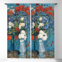 Van Gogh Poppies Cornflowers Blue Vase Low Poly Blackout Curtain