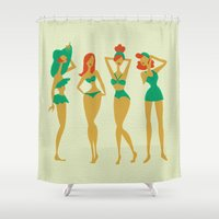 ginger Shower Curtains featuring Ginger Babes by Cat Coquillette